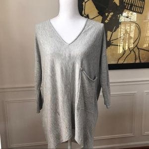 Joan Vass 3/4 Sleeve Shark Bite Tunic